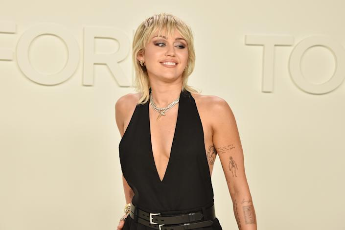 Miley Cyrus attends the Tom Ford AW/20 Fashion Show at Milk Studios on February 07, 2020 in Los Angeles, California. (Photo by David Crotty/Patrick McMullan via Getty Images)