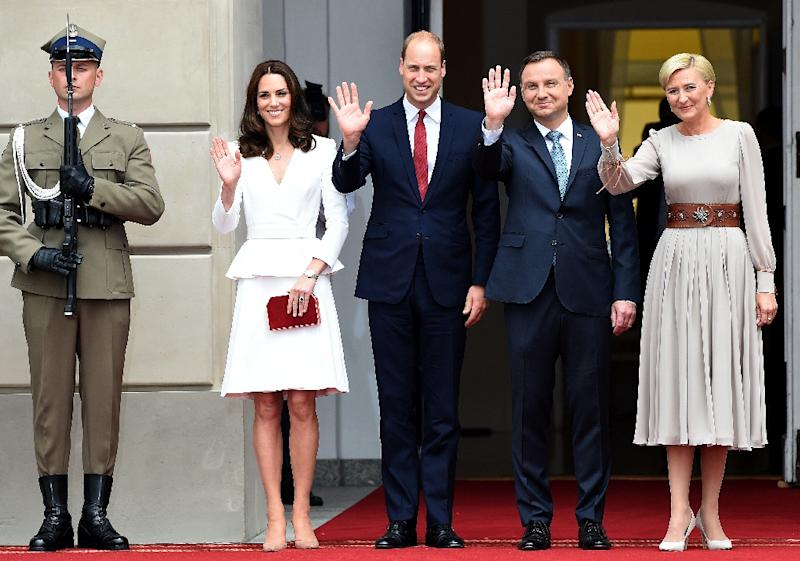 Prince William and his wife Kate at the Polish presidential palace with President Andrzej Duda and his wife Agata Kornhauser-Duda