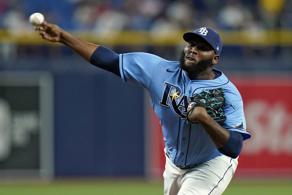 Tampa Bay Rays relief pitcher Diego Castillo delivers to the Boston Red Sox during the ninth inning of a baseball game Wednesday, June 23, 2021, in St. Petersburg, Fla. (AP Photo/Chris O'Meara)