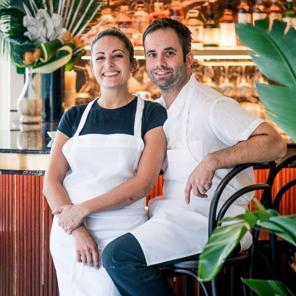 PHOTO: Angie Rito and Scott Tacinelli in their restaurant, Don Angie. (Ashley Sears)