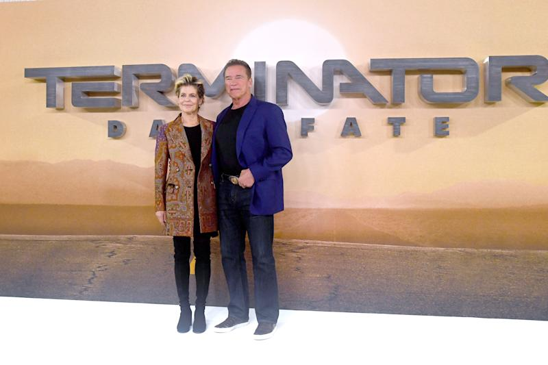 "LONDON, ENGLAND - OCTOBER 17: Linda Hamilton and Arnold Schwarzenegger attend the ""Terminator: Dark Fate"" photocall on October 17, 2019 in London, England. (Photo by Dave J Hogan/Getty Images)"