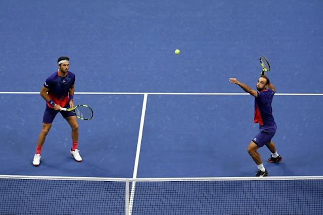 Juan Sebastian Cabal and Robert Farah in action at the US Open on their way to their second Grand Slam title (AFP Photo/Emilee Chinn)