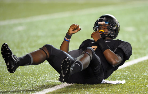 Aug 28, 2014; Nashville, TN, USA; Vanderbilt Commodores quarterback Johnny McCrary (2) reacts after throwing an interception during the second half against the Temple Owls at Vanderbilt Stadium. (Christopher Hanewinckel-USA TODAY Sports)