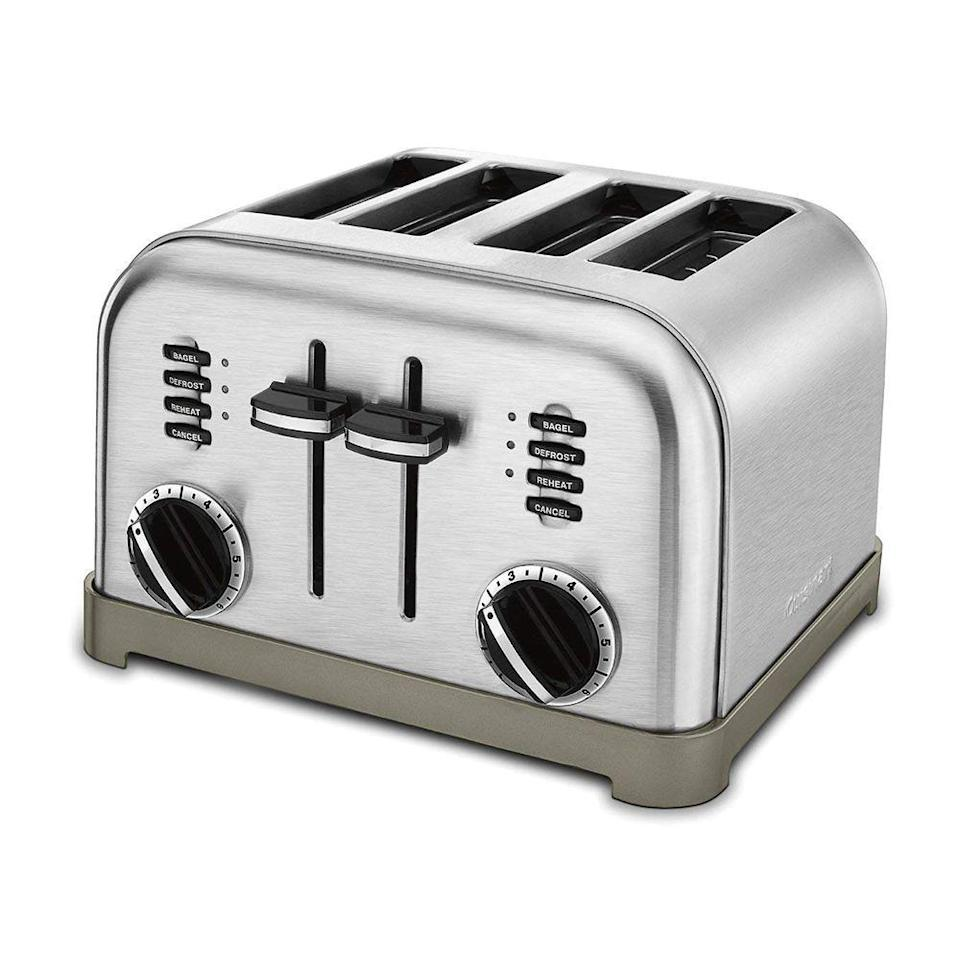 """<p><strong>Cuisinart</strong></p><p>amazon.com</p><p><strong>$69.95</strong></p><p><a href=""""https://www.amazon.com/dp/B0000A1ZN1?tag=syn-yahoo-20&ascsubtag=%5Bartid%7C2089.g.27965170%5Bsrc%7Cyahoo-us"""" rel=""""nofollow noopener"""" target=""""_blank"""" data-ylk=""""slk:Shop Now"""" class=""""link rapid-noclick-resp"""">Shop Now</a></p><p>This four-slice toaster from Cuisinart offers two separate heating mechanisms, so you can customize each person's toast based on personal preference. It also has six different levels of doneness to choose from, along with a slide-out crumb tray for easy cleanup.</p>"""