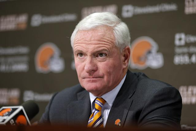 Cleveland Browns owner Jimmy Haslam answers questions from the media at the Browns' training facility Monday, Dec. 30, 2013, in Berea, Ohio. Head coach Rob Chudzinski was fired Sunday. (AP Photo/Tony Dejak)