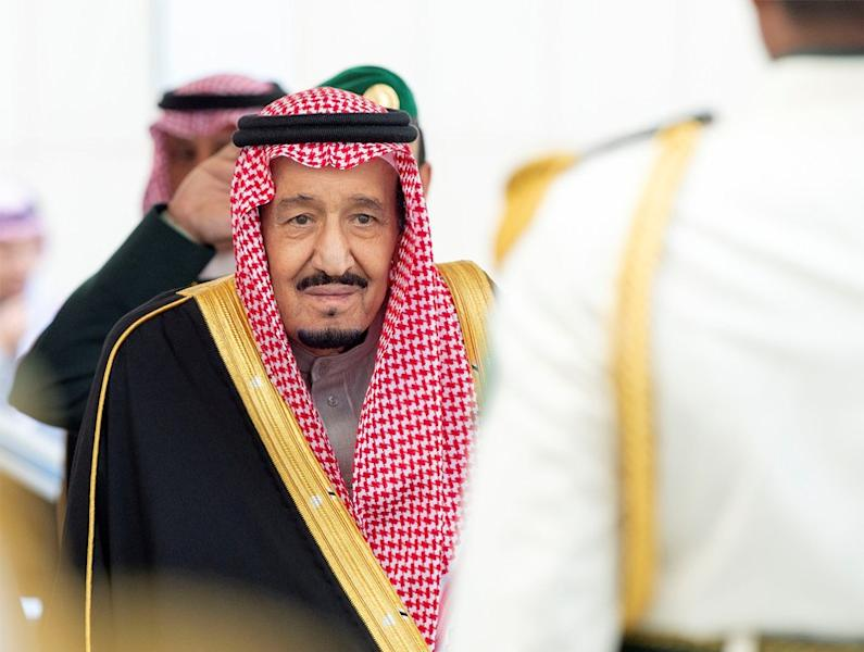 Saudi Arabia's King Salman bin Abdulaziz Al Saud arrives to address the Shura Council in Riyadh