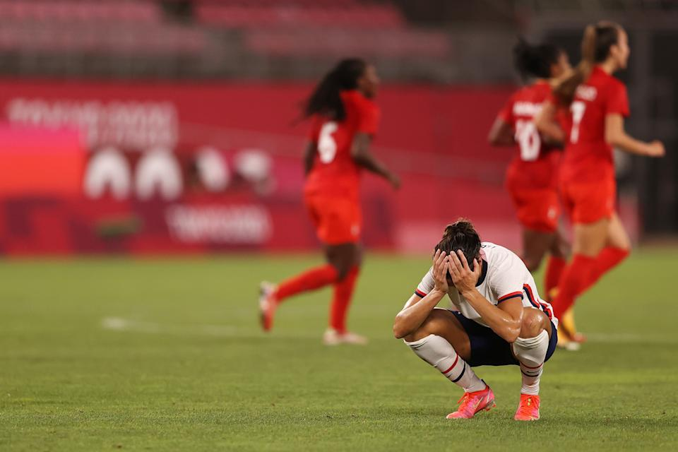 <p>KASHIMA, JAPAN - AUGUST 02: Carli Lloyd #10 of Team United States looks dejected following defeat in the Women's Semi-Final match between USA and Canada on day ten of the Tokyo Olympic Games at Kashima Stadium on August 02, 2021 in Kashima, Ibaraki, Japan. (Photo by Francois Nel/Getty Images)</p>