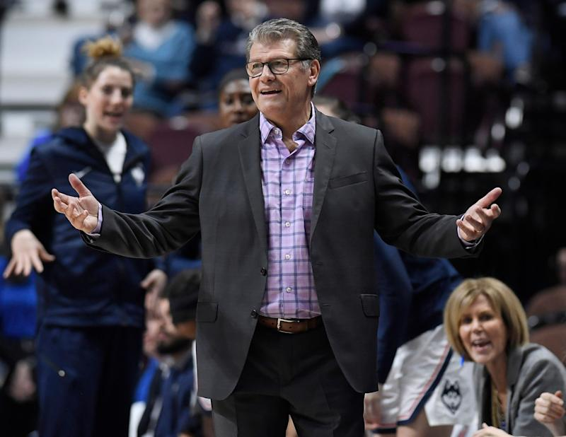 Connecticut head coach Geno Auriemma during the first half of an NCAA college basketball game in the American Athletic Conference tournament semifinals, Sunday, March 10, 2019, at Mohegan Sun Arena in Uncasville, Conn. (AP Photo/Jessica Hill)