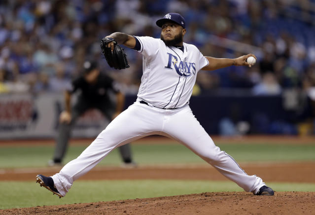 Tampa Bay Rays pitcher Jose Alvarado delivers to the Kansas City Royals during the ninth inning of a baseball game Monday, Aug. 20, 2018, in St. Petersburg, Fla. (AP Photo/Chris O'Meara)