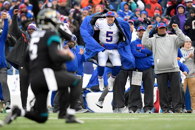 Did Buffalo Bills quarterback Matt Barkley jump like this when he saw a huge spider in his basement? We wouldn't blame him. (AP)