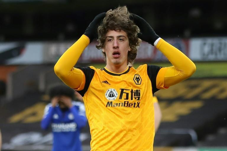 Oh no Fabio: Fabio Silva missed a glorious chance to win the game for Wolves over Leicester