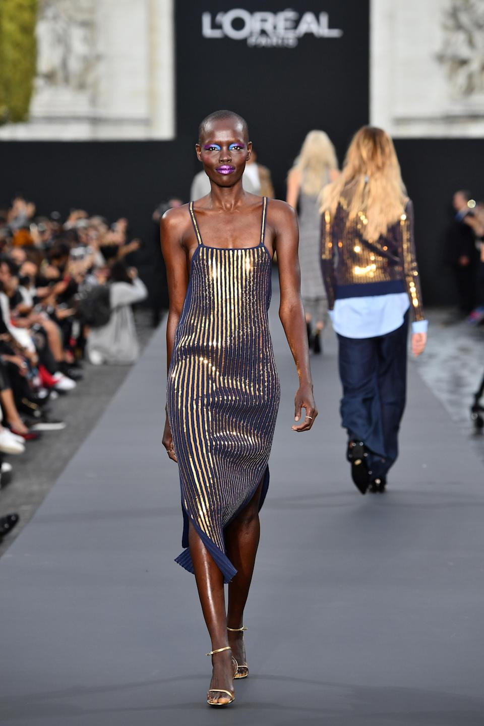 <p>The South Sudanese face stunned in bright make-up. <i>[Photo: L'Oreal Paris]</i> </p>
