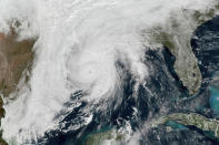 This GOES-16 GeoColor satellite image taken, Wednesday, Oct. 28, 2020, at 1 p.m. EDT, and provided by NOAA, shows Hurricane Zeta in the Gulf of Mexico nearing Louisiana. (NOAA via AP)