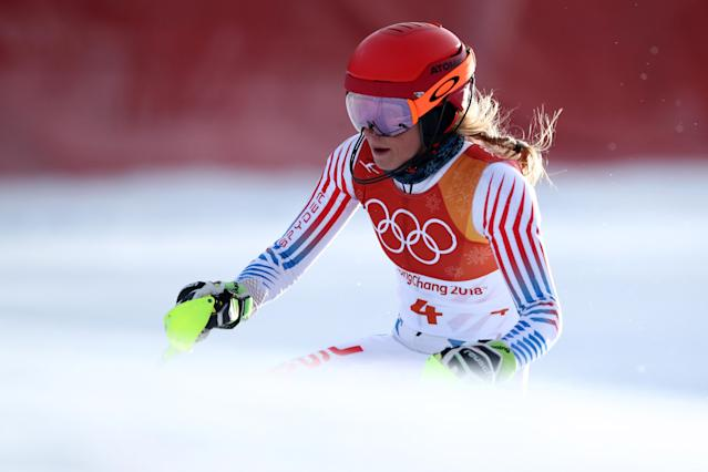 Mikaela Shiffrin skis in the women's slalom competition at the 2018 Winter Olympics. (Getty)