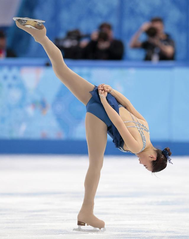 Kim Haejin of South Korea competes in the women's short program figure skating competition at the Iceberg Skating Palace during the 2014 Winter Olympics, Wednesday, Feb. 19, 2014, in Sochi, Russia. (AP Photo/Ivan Sekretarev)