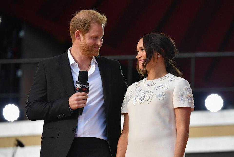 The Duke and Duchess of Sussex during the Global Citizen Live festival in New York (AFP via Getty Images)