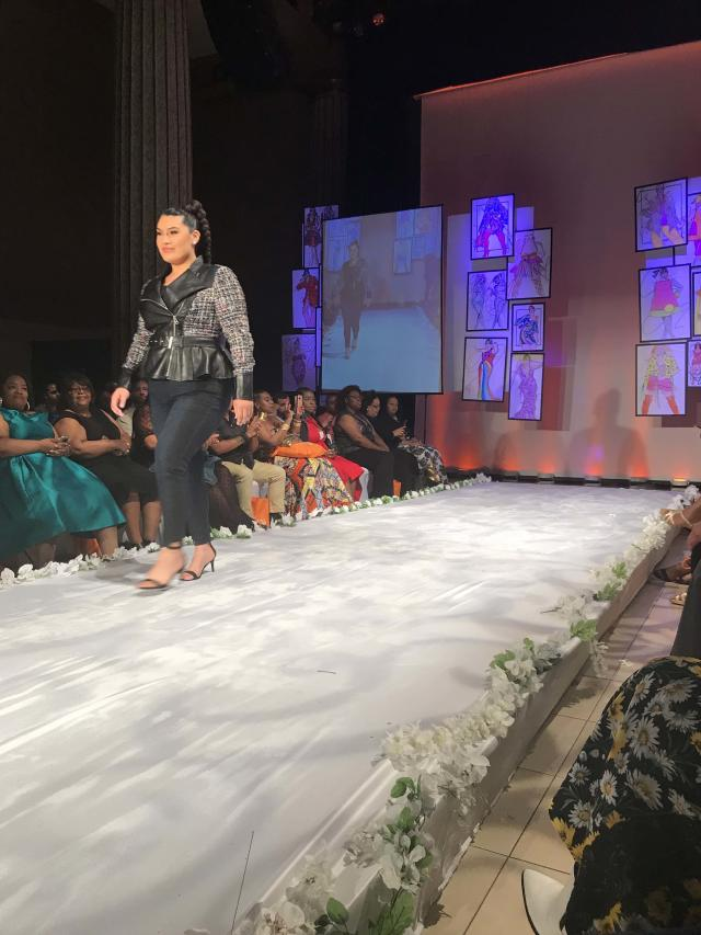 A tweed-and-leather belted jacket and jeans by Lane Bryant made an impression at Full Figured Fashion Week's finale in New York City. (Photo: Courtesy of Lane Bryant/Cacique)