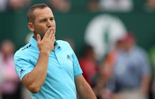 Sergio Garcia blows kisses to the crowd after completing his final round. (AP)
