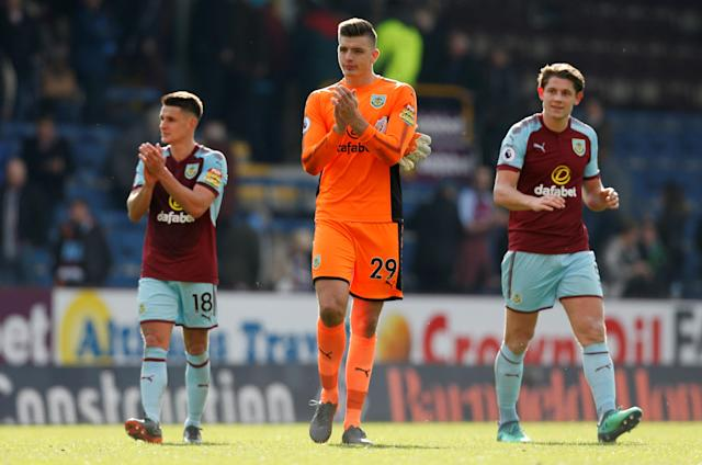 """Soccer Football - Premier League - Burnley vs Leicester City - Turf Moor, Burnley, Britain - April 14, 2018 Burnley's Nick Pope applauds the fans after the match Action Images via Reuters/Ed Sykes EDITORIAL USE ONLY. No use with unauthorized audio, video, data, fixture lists, club/league logos or """"live"""" services. Online in-match use limited to 75 images, no video emulation. No use in betting, games or single club/league/player publications. Please contact your account representative for further details."""