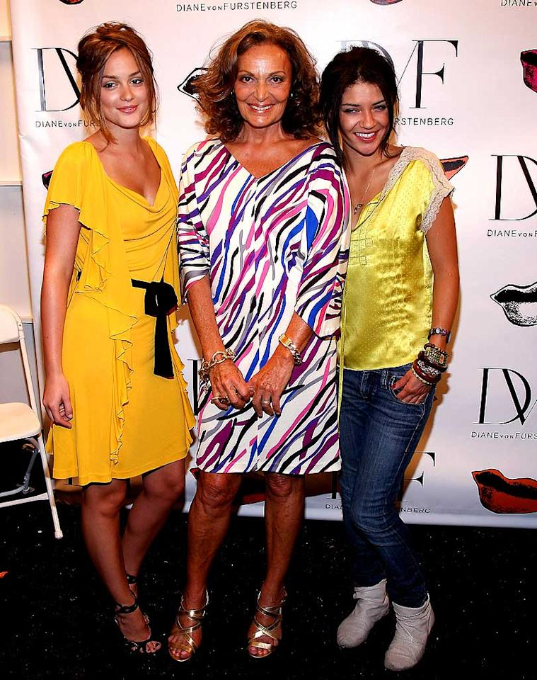 """""""Gossip Girl"""" stars Leighton Meester (left) and Jessica Szhor wouldn't dare pass up a fashion op with Diane von Furstenberg. Unfortunately, we doubt that Jess' casual ensemble impressed the fashion icon. Jason Kempin/<a href=""""http://www.wireimage.com"""" target=""""new"""">WireImage.com</a> - September 7, 2008"""