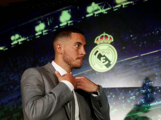 Eden Hazard arrives for his first press conference at Real Madrid (Reuters)