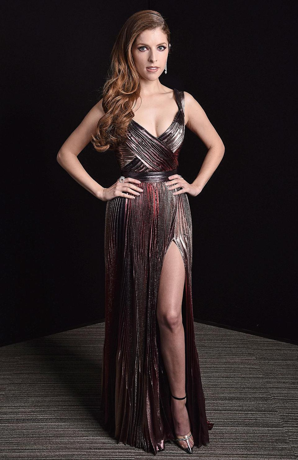 """<p>shines in a metallic pink and gold Zuhair Murad pleated gown with Messika Paris jewels. </p> <p>""""We loved the dress's modern take on a classic Hollywood style and felt it was fitting as we all work our way back to the red carpet mentally, spiritually and physically,"""" the actress' <a href=""""https://www.instagram.com/jillandjordan/?hl=en"""" rel=""""nofollow noopener"""" target=""""_blank"""" data-ylk=""""slk:stylists Jill Lincoln and Jordan Johnson"""" class=""""link rapid-noclick-resp"""">stylists Jill Lincoln and Jordan Johnson</a> tell PEOPLE.</p>"""