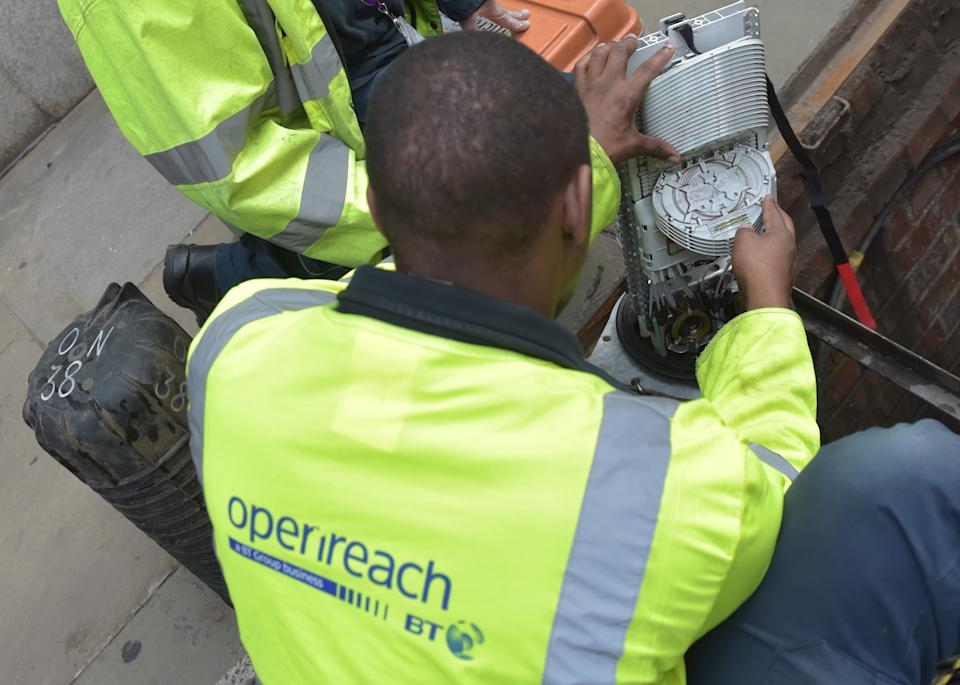 Fibre broadband engineers from Openreach, the infrastructure arm of BT work on a fibre cable junction in central London. (Photo by Nick Ansell/PA Images via Getty Images)