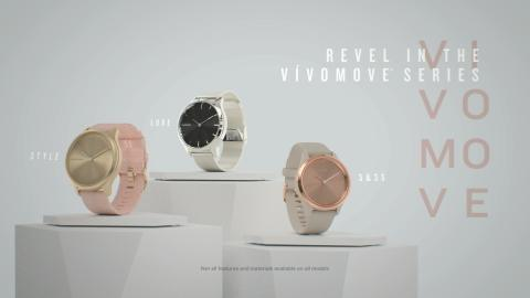 Garmin® introduces the latest vívomove® series with new advanced wellness features, connected GPS and Garmin Pay.