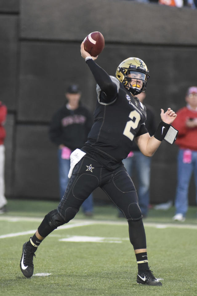 Vanderbilt quarterback Deuce Wallace (2) throws downfield against UNLV in the second half of an NCAA college football game Saturday, Oct. 12, 2019, in Nashville, Tenn. (AP Photo/Mike Strasinger)