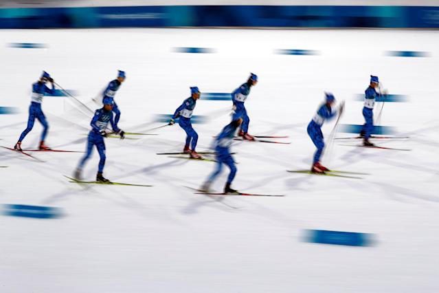 "Nordic Combined Events – Pyeongchang 2018 Winter Olympics – Men's Individual 10km Final – Alpensia Cross-Country Skiing Centre - Pyeongchang, South Korea – February 14, 2018 - Forerunners prepare the course before the event. REUTERS/Kai Pfaffenbach SEARCH ""OLYMPICS BEST"" FOR ALL PICTURES. TPX IMAGES OF THE DAY."