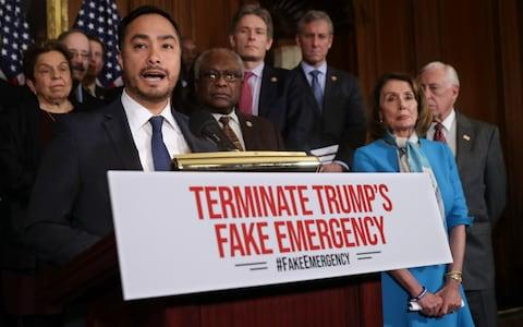 Rep. Joaquin Castro speaks about the resolution he sponsored to terminate President Donald Trump's emergency declaration  - Credit: Chip Somodevilla/Getty
