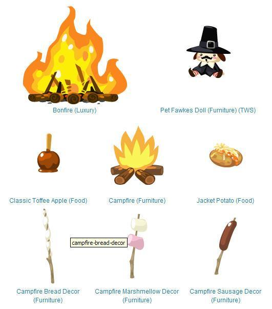 Pet Society Guy Fawkes items rings in the 5th of November