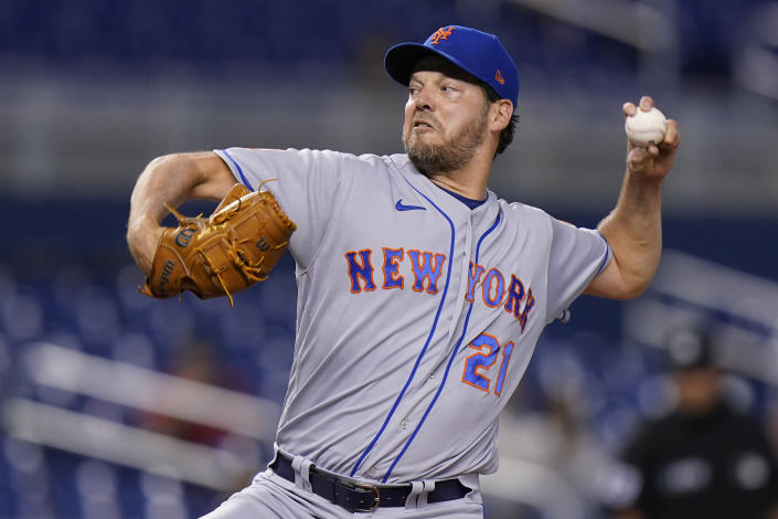 New York Mets' Rich Hill delivers a pitch during the first inning of the team's baseball game against the Miami Marlins, Wednesday, Sept. 8, 2021, in Miami. (AP Photo/Wilfredo Lee)