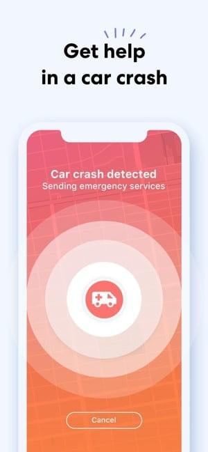"""Screenshot of Life360 app showing a picture of an ambulance on a red circle, with text saying """"Car crash detected, sending emergency services"""""""