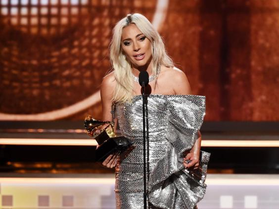 Lady Gaga accepting the award for Best Duo/Group Performance at the 2019 Grammy Awards (Getty Images)