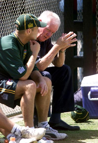 13 Dec 2001:  (L-R) Gary Kirsten of South Africa chats with former South African Champion Graeme Pollock  during the South African nets session ahead of the first test between Australia and South Africa starting tomorrow at the Adelaide Oval, Adelaide, Australia.  DIGITAL IMAGE. Mandatory Credit: Nick Wilson/ALLSPORT
