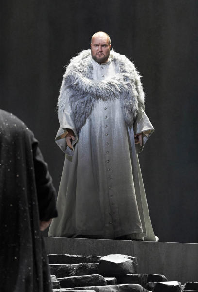 """In this picture provided by the Vienna State Opera Stephen Milling in the role of King Marke performs during a dress rehearsal for Richard Wagner's opera """"Tristan and Isolde"""" at the state opera in Vienna, Austria, Monday, June 3, 2013. Premiere was on Thursday, June 13, 2013. (AP Photo/Wiener Staatsoper, Michael Poehn)"""