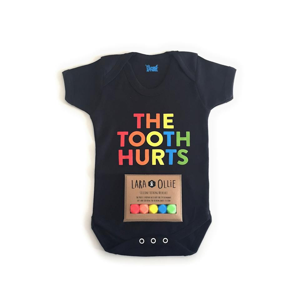 <p>From super cool new baby brand on the block, Parent Apparel, this unique gift set includes a limited edition rainbow necklace for mum and a slogan baby grow for the little one. </p>