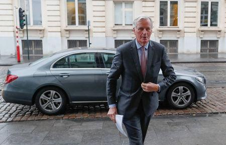 "European Union's chief Brexit negotiator Barnier arrives at a conference on the ""The future of the EU"" at the Centre for European Reform in Brussels"