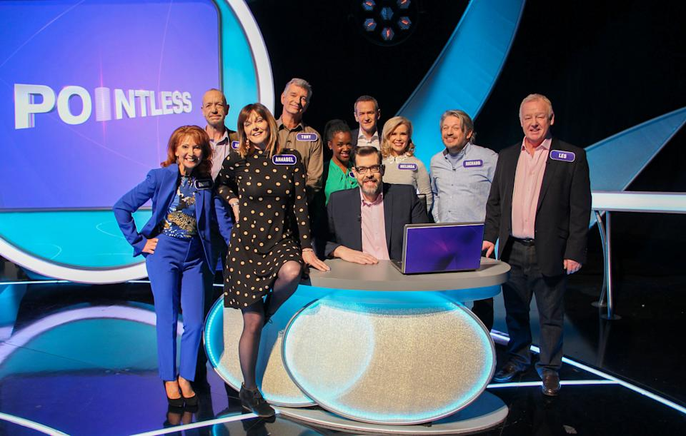 Pointless Celebrities stars Bonnie Langford, Arthur Smith, Annabel Giles, Tony Hawks, Diane-Louise Jordan, Richard Osman, Alexander Armstrong, Melinda Messenger, Richard Herring, Les Dennis. (BBC/Endemol Shine UK Ltd t/a Remarkable Television Production/Sam Shepherd)