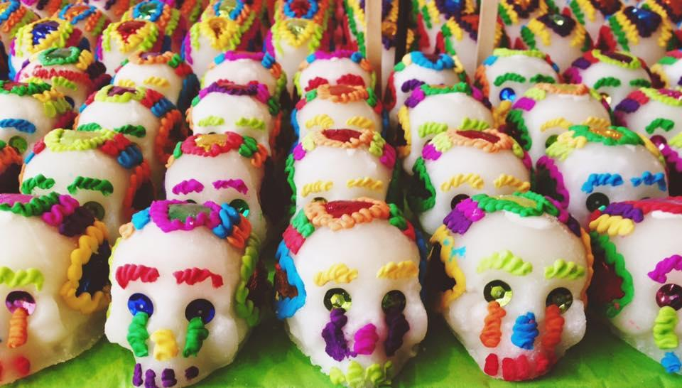 Sugar skulls are iconic symbols of Dia de los Muertos, or Day of the Dead, celebrations. They are made of compressed sugar with metallic sequins for eyes and colorful icing for hair.