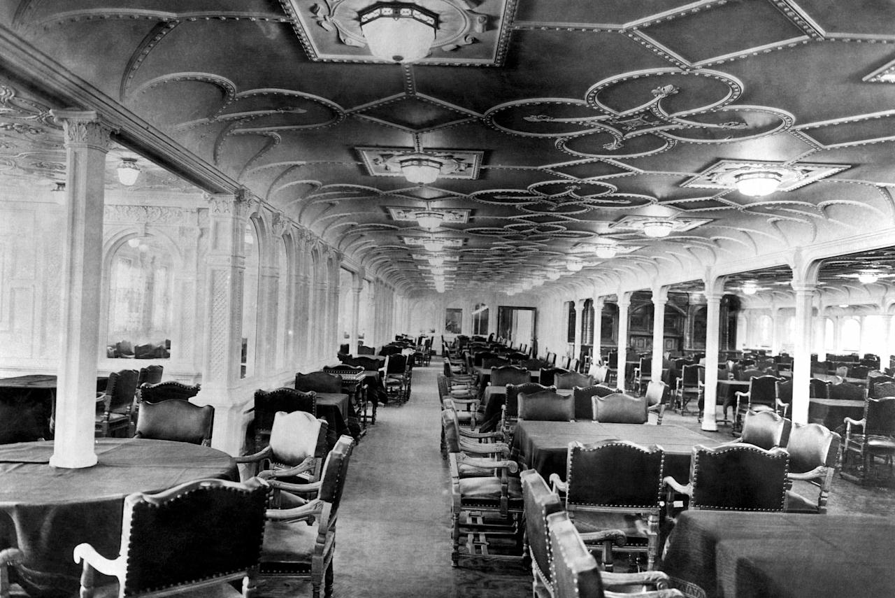 12)	The dining room of the RMS Titanic, which sank after hitting an iceberg on its maiden voyage on 15 April 1912.