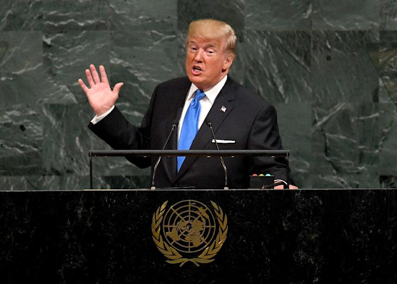 """Trump used his debut address 12 months ago to threaten to """"totally destroy"""" North Korea and belittled its leader as """"rocket man,"""" prompting Kim to respond by calling the US president """"mentally deranged"""" (AFP Photo/TIMOTHY A. CLARY)"""