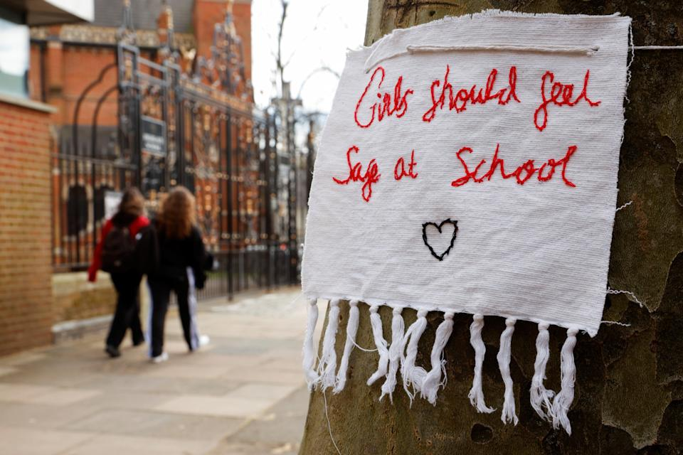 <p>A protest against sexual harassment at Highgate School which helped inspire the Everyone's Invited campaign</p> (Reuters)