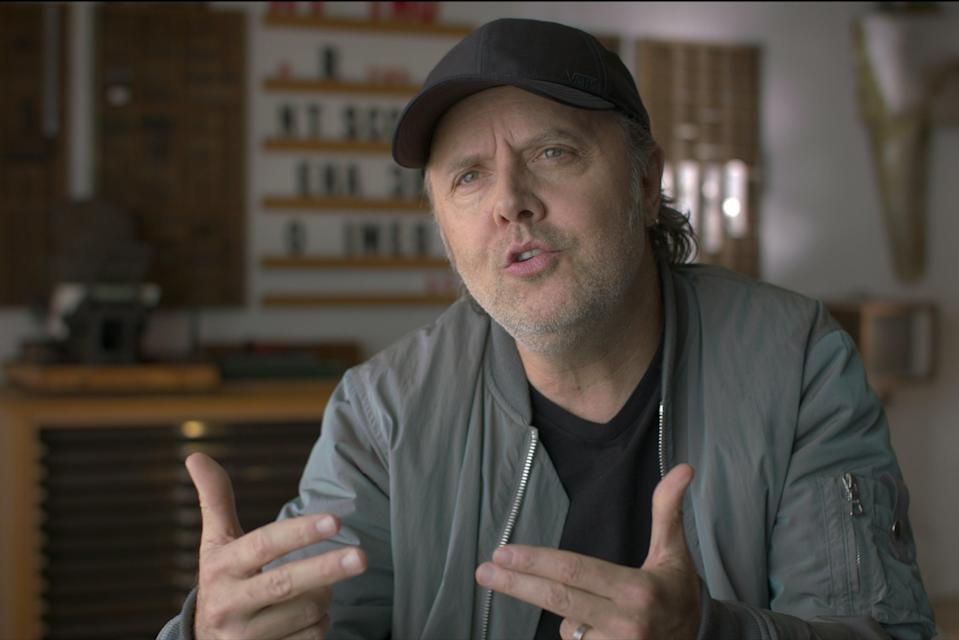 Metallica drummer Lars Ulrich is interviewed by Dave Grohl for the filmWhat Drives Us