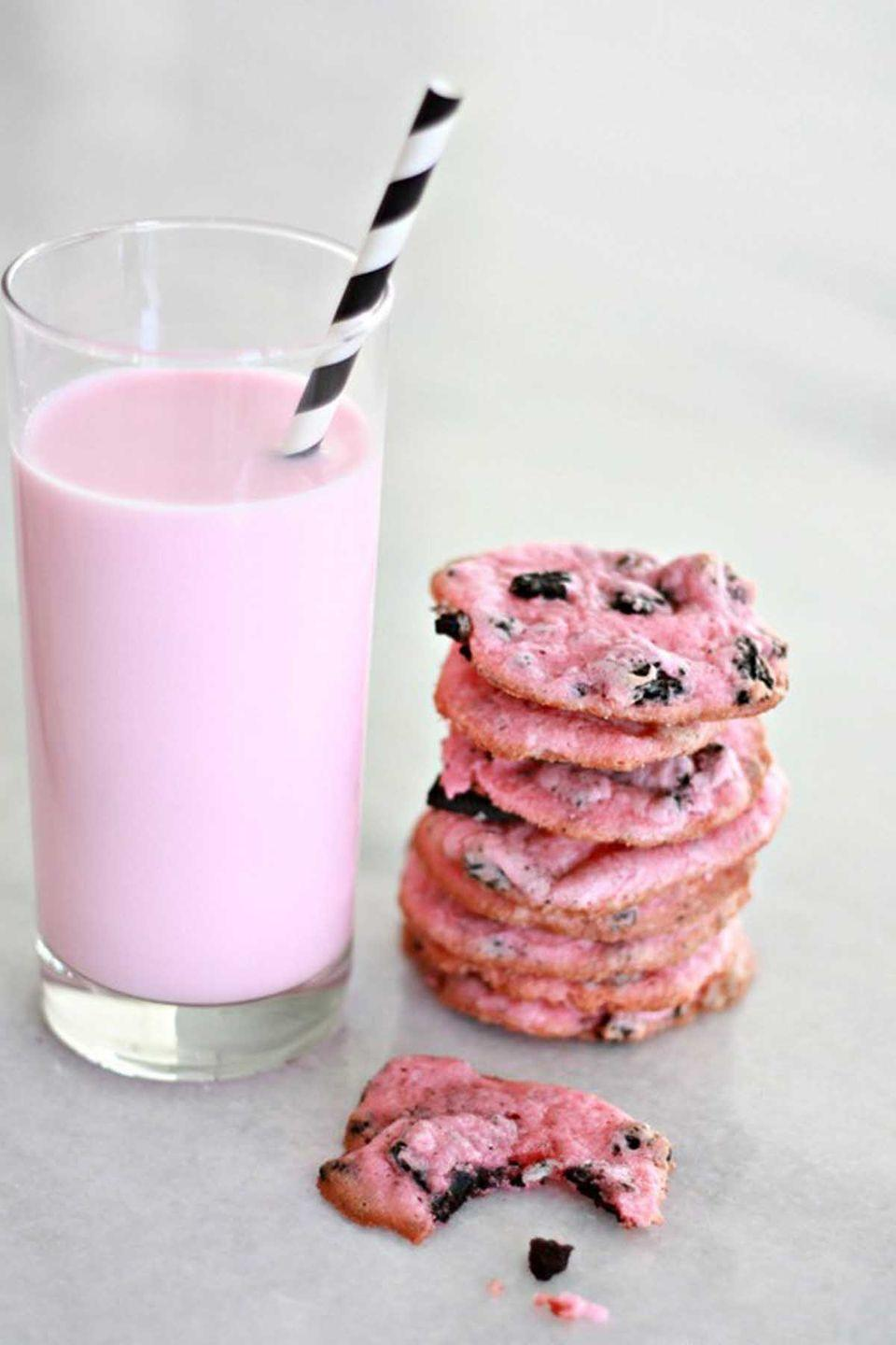 "<p><span class=""redactor-invisible-space"">The combination of Oreo and cheesecake flavors is what makes these pink cookies taste amazing. </span><br></p><p><strong>Get the recipe at <a href=""http://www.nestofposies-blog.com/2015/01/oreo-cheesecake-cookies/"" rel=""nofollow noopener"" target=""_blank"" data-ylk=""slk:Nest of Posies"" class=""link rapid-noclick-resp"">Nest of Posies</a>. </strong></p>"