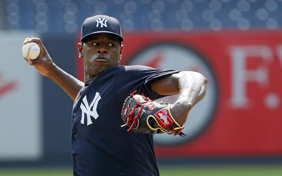 NEW YORK, NY - AUGUST 18:  Pitcher Luis Severino of the New York Yankees, who has been out with an injury all season, pitches to batters from the mound in a workout before an MLB baseball game against the Cleveland Indians on August 18, 2019 at Yankee Stadium in the Bronx borough of New York City. Cleveland won 8-4. (Photo by Paul Bereswill/Getty Images)