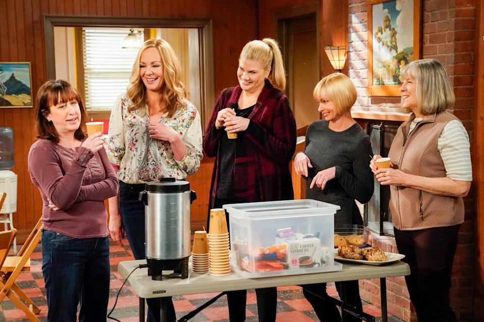 """Beth Hall, left, Allison Janney, Kristen Johnston, Jaime Pressly and Mimi Kennedy play bickering but loving friends on CBS comedy """"Mom,"""" which ends its eight-season run on May 6."""