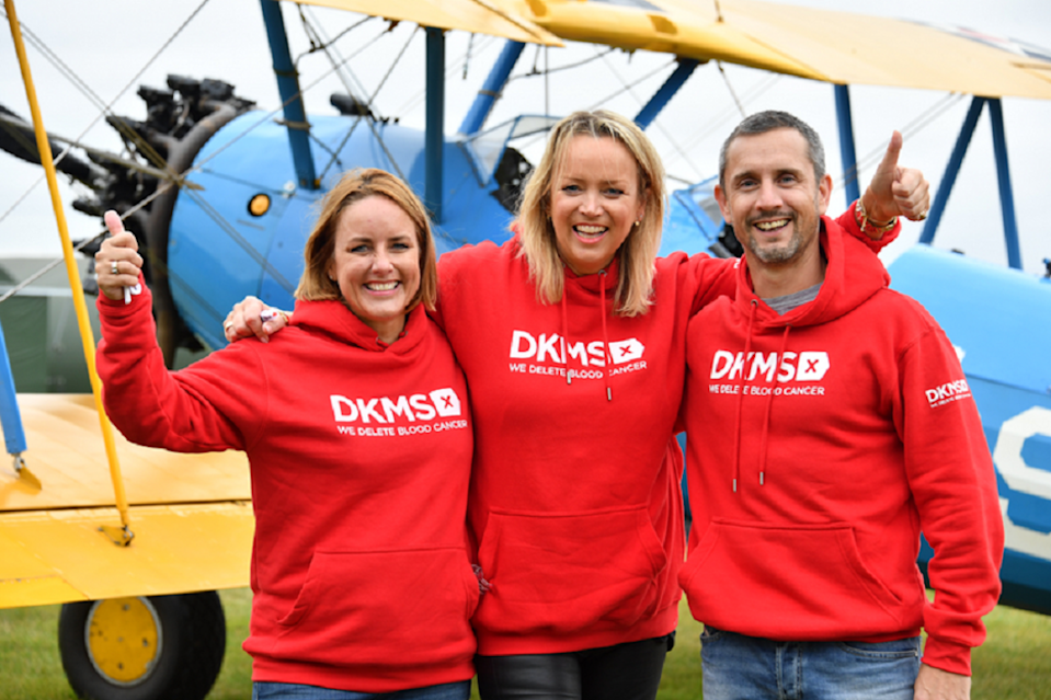 DKMS wing walkers (L-R) Sally Hurman, Lisa Jackson and Peter McCleave (Theo Wood/DKMS/PA).