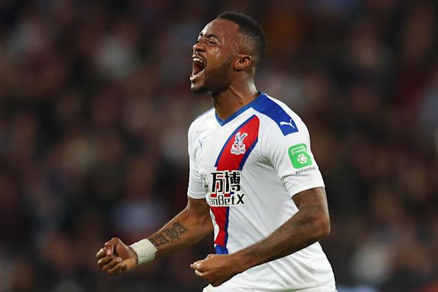 Jordan Ayew of Crystal Palace celebrates his goal at the second time of asking. (Photo by Catherine Ivill/Getty Images)